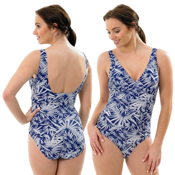 Blue White Palm Print Swimming Costume Bathing Swimsuit Low Leg