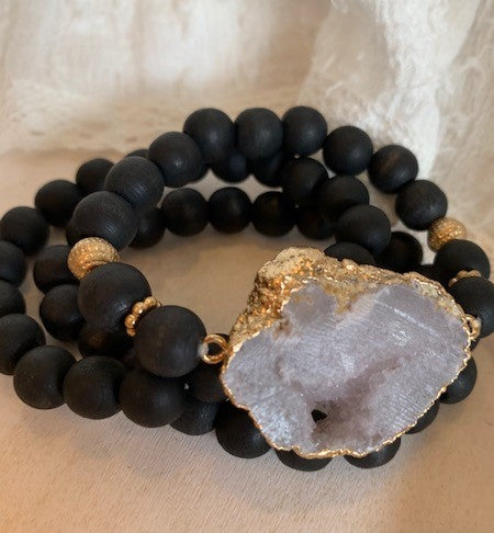 Triple Wrap Wood Beaded Stone Bracelet