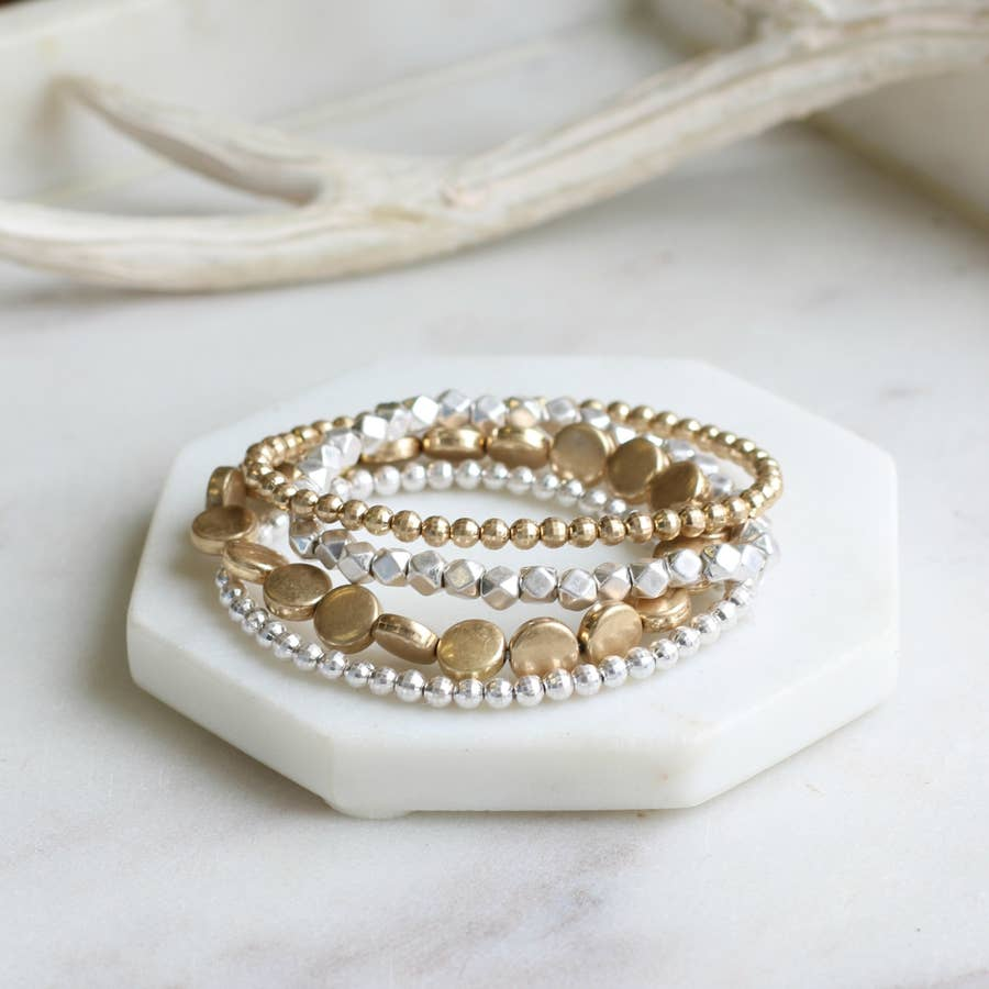 Multi Layered Flat Disc Bracelet Set