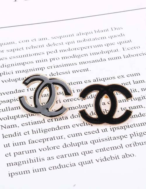 Double C Black Enamel Stud Earrings