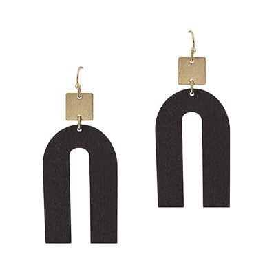 Wood & Gold Geometric Earring