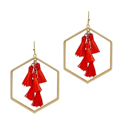 Gold & Red Tassel Hexagon Earring
