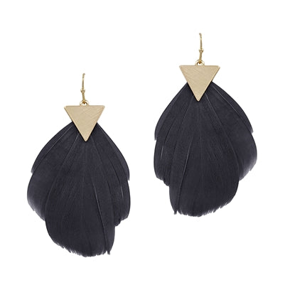 Gold Triangle and Black Feather Drop Earring