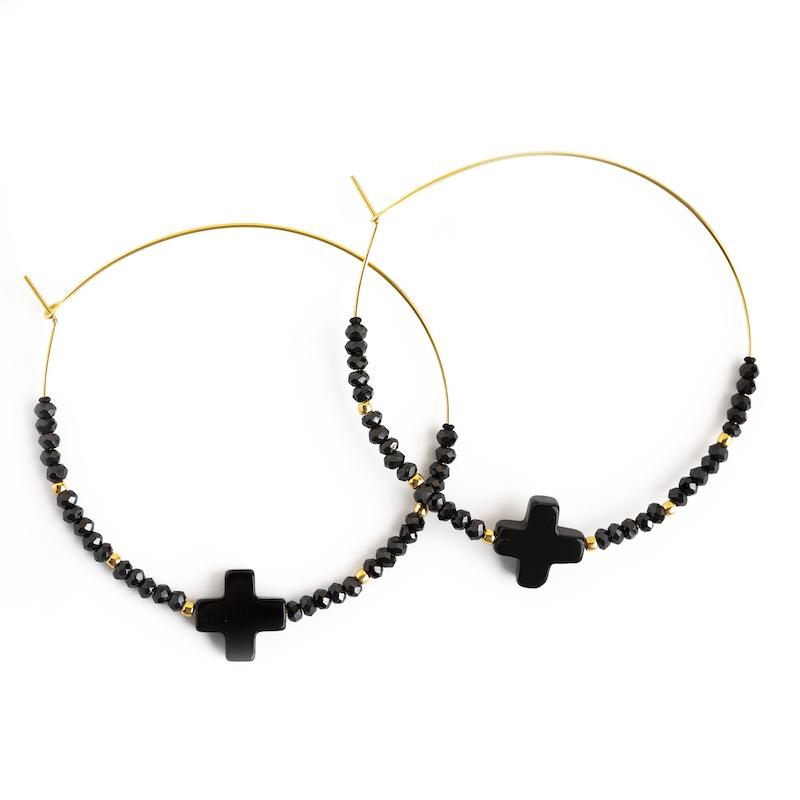 Faith/Fear Cross Hoop Earrings - Lenny & Eva