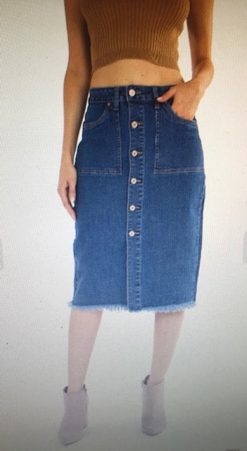Pencil Me In Denim Skirt