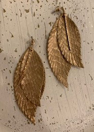Leather Look Gold Double Leaf Earrings