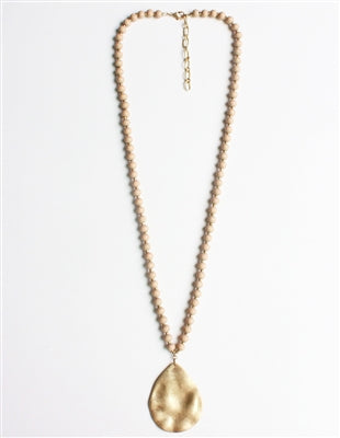 Beaded Necklace with Gold Hammered Teardrop Charm