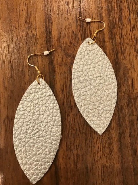 Textured Leaf Earrings - Medium