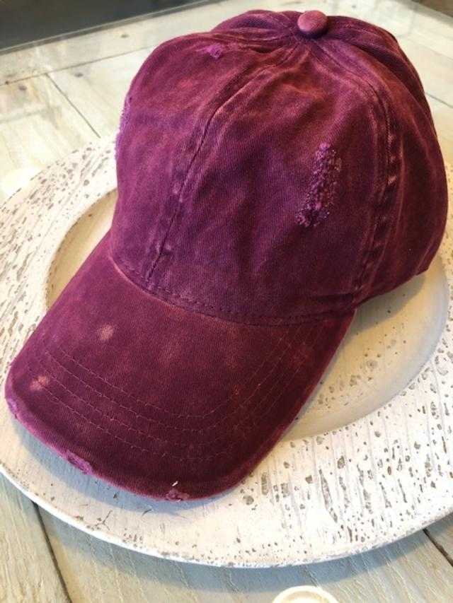 Ponytail Distressed Cap