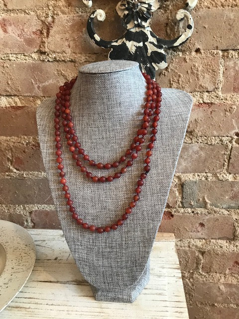 "60"" Burgundy Glass Bead Necklace"