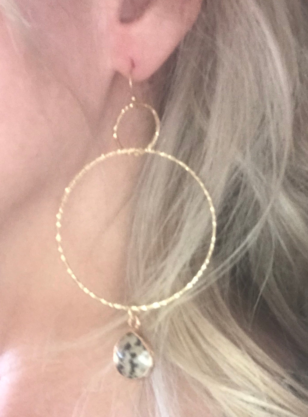 Gold Circle Hoop With Drop Dalmatian Stone Earrings