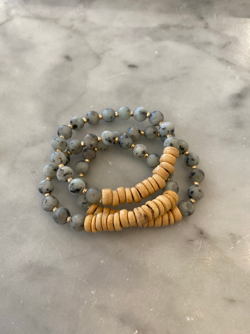 Blue Dalmatian Natural Stone 3 Piece Bracelet Set