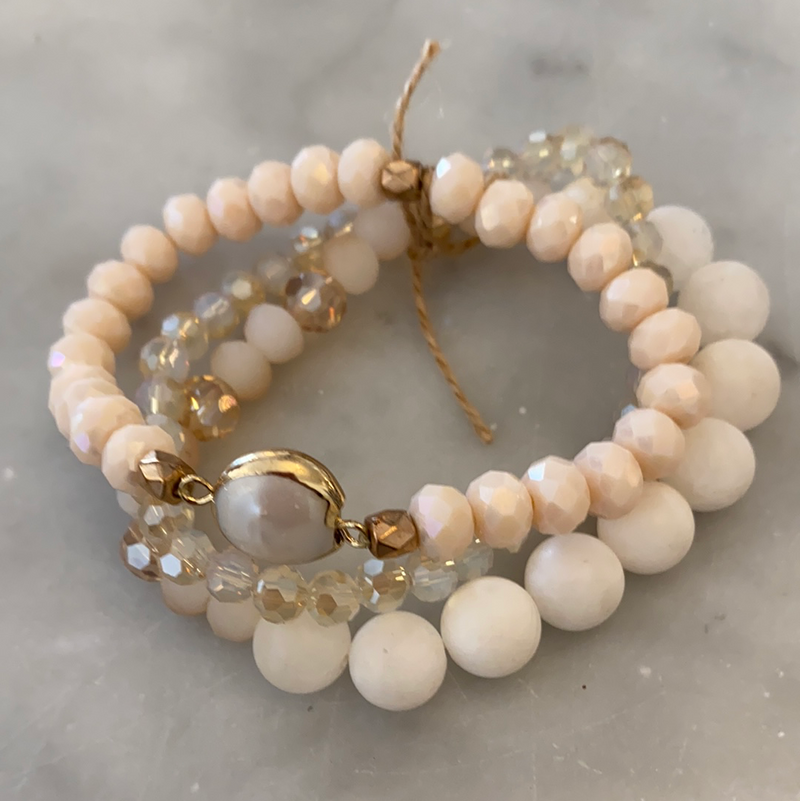 Crystal, Natural Stone & Pearl 3 Bracelet Set