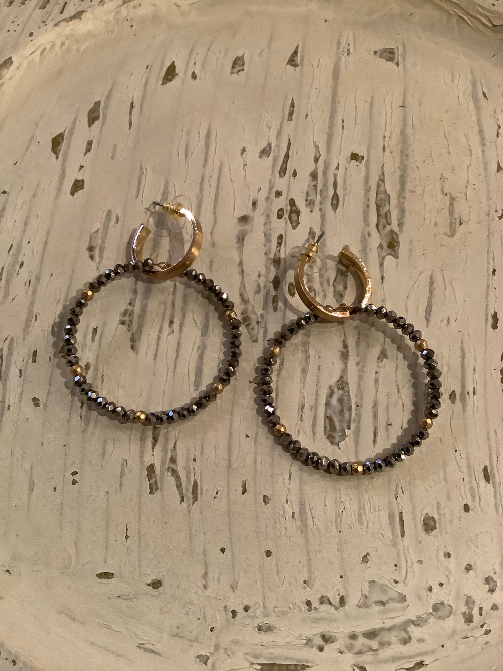 Gold Hoop Stud with Hematite Crystal Earring