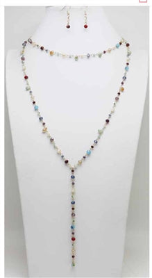 Multi Colored Crystal Two Layer Necklace & Drop Earring Set