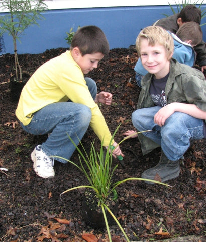 Children planting trees for Habitat for Humanity