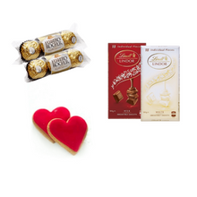 Iced Heart Gingerbread Cookies, Lindt Chocolate and Ferrero Rochers - add to a Plant Gift box