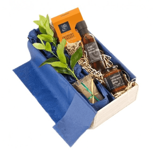 Lime Tree in Box with Chutney, Bread Dipper Olive Oil and Crunchy Cracker Snacks