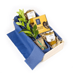 Lime Tree with Curds and Biscotti in Wooden Box