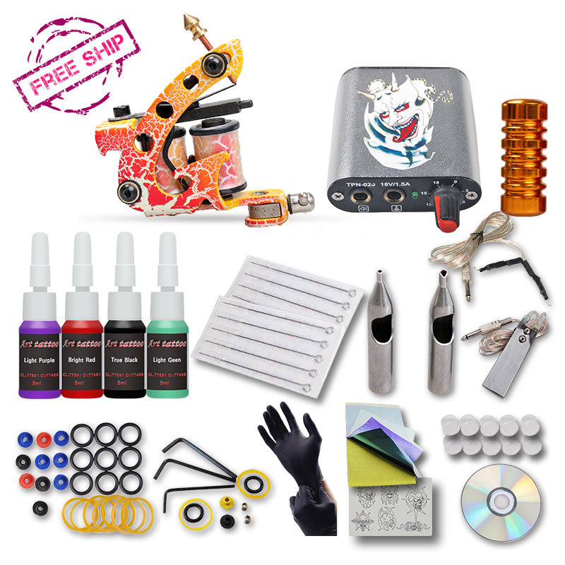 Beginner Tattoo Kit Machine With 4 color Inks - ezshoppingcenter