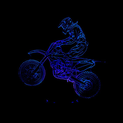 Motocross USB Table 3D Lamp With Stereo