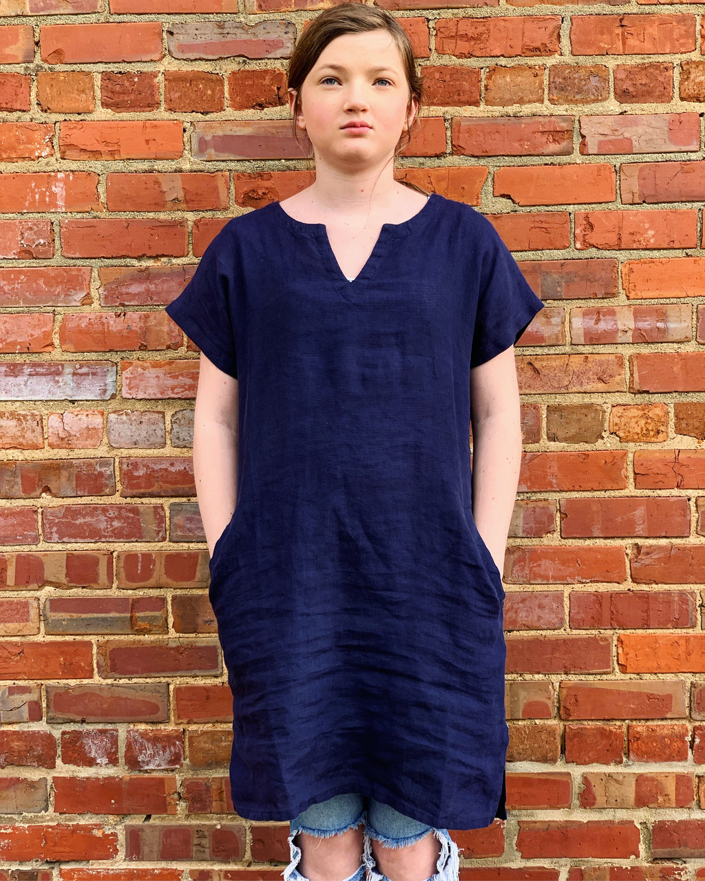 Linen Shift Dress (Navy)
