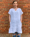 Linen Shift Dress (White)