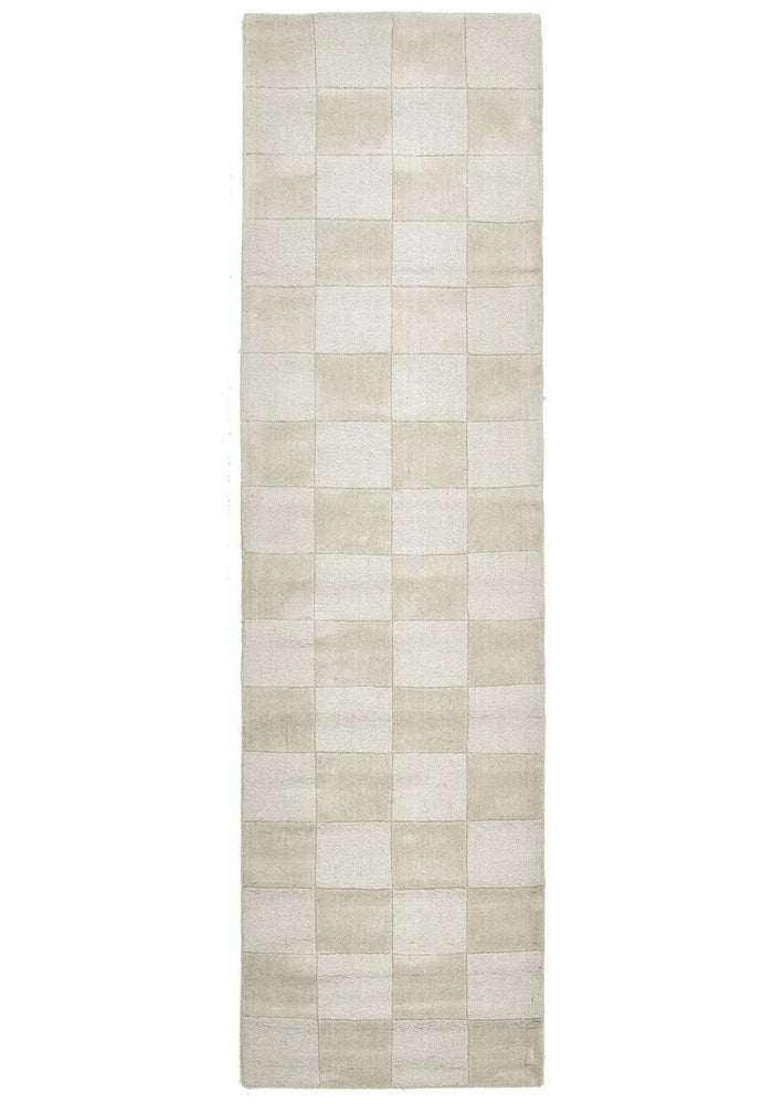 Timeless Boxed Pattern Wool - Oatmeal [Runner]