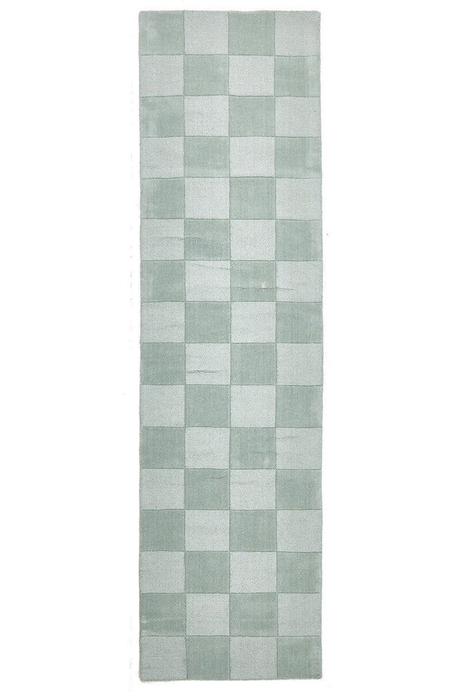 Timeless Boxed Pattern Wool - Seafoam [Runner]