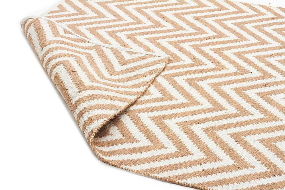 Chevron Cotton Jute Rug - Beige - Cheapest Rugs Online - 2