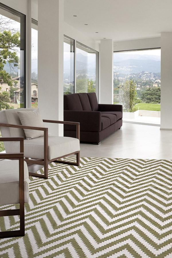Chevron Cotton Jute Rug - Green - Cheapest Rugs Online - 3