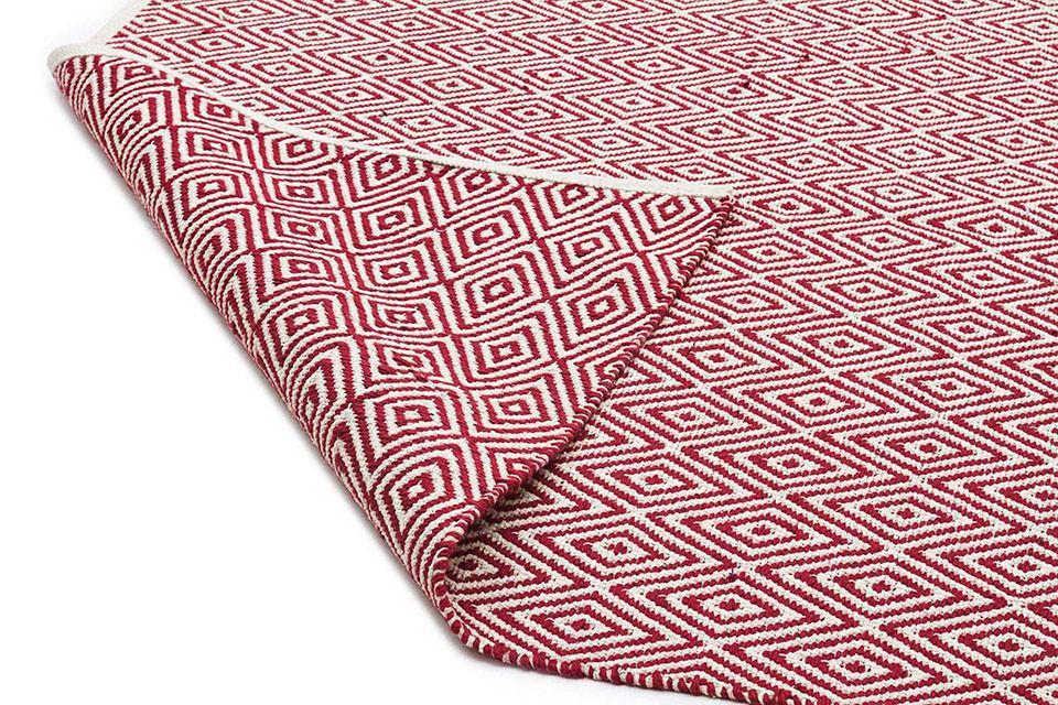 Diamond Cotton Jute Rug - Red - Cheapest Rugs Online - 2