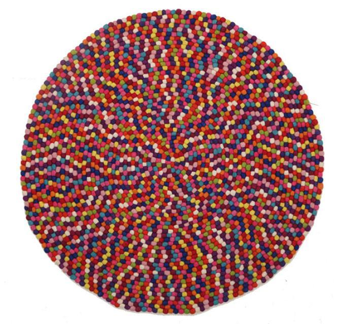 Gumball Felted Wool Unique Textured Ball Design Round Rug Multi - Cheapest Rugs Online - 1