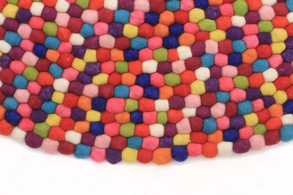 Gumball Felted Wool Unique Textured Ball Design Round Rug Multi - Cheapest Rugs Online - 2