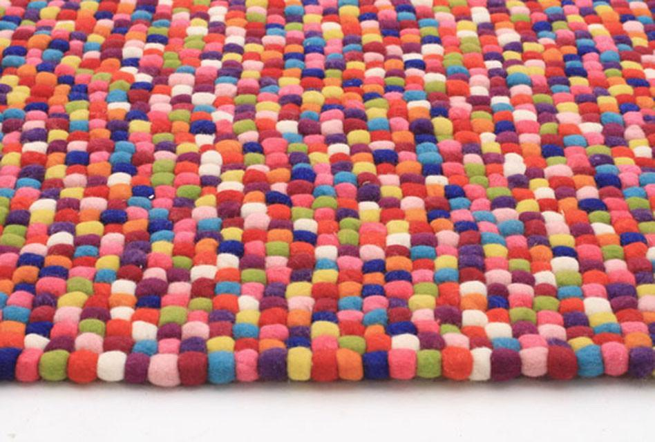 Gumball Felted Wool Unique Textured Ball Design Multi Rug - Cheapest Rugs Online - 3