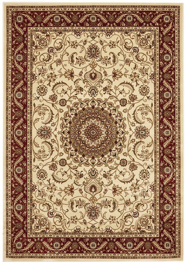 Sydney Medallion - Ivory & Red Border