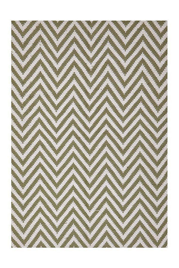 Chevron Cotton Jute - Green