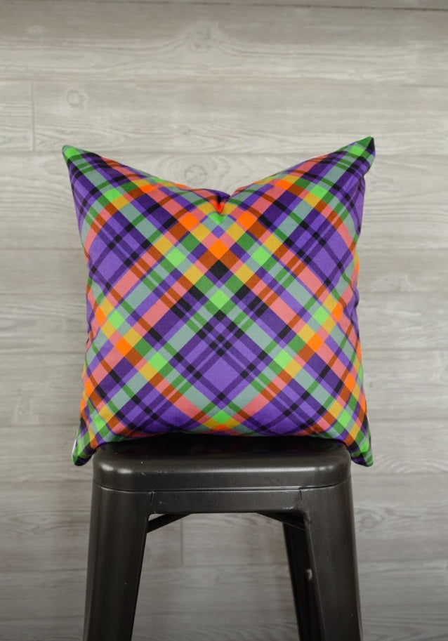 Purple Plaid Pillow Cover