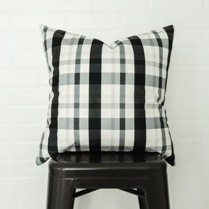 Black/Grey Plaid Pillow Cover