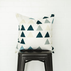 Blue Triangles Pillow Cover