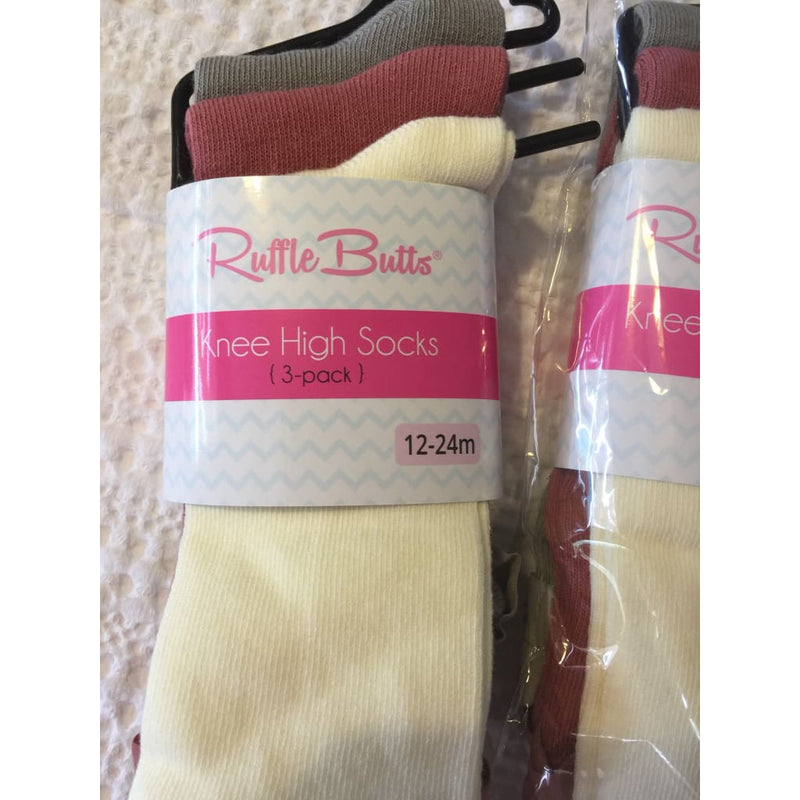 3-Pairs of Beautiful Socks - Ivory Mauve Gray Knee High Socks by RuffleButts - Socks