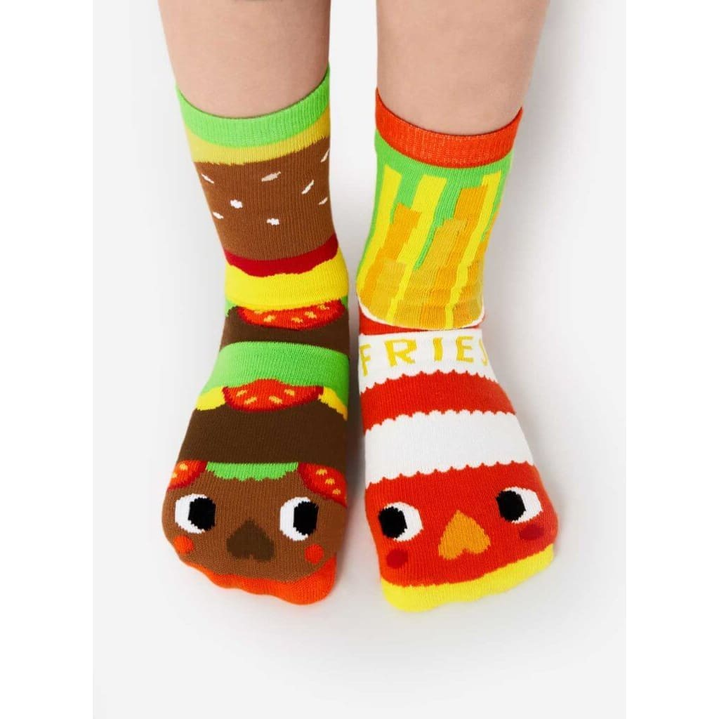 Burger & Fries | Crowded Teeth Artist Series | Kids Mismatched Socks - Toddler 1-3 Years