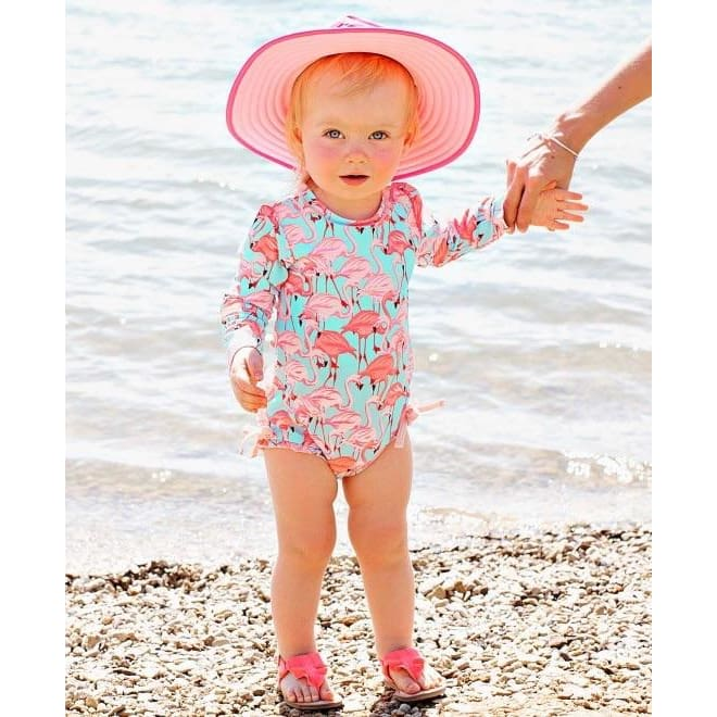 Flamingo One Piece Swimwear Rash Guard by Ruffelbutts