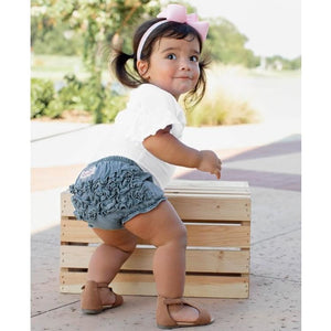 Light Wash Denim RuffleButt Bloomers - Bottoms