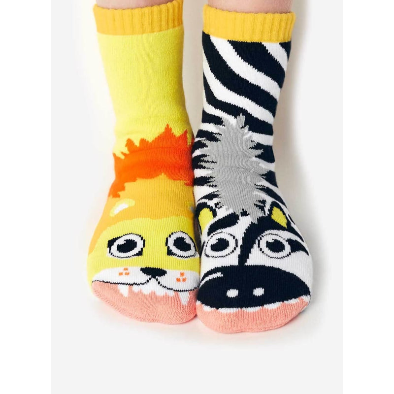 Lion & Zebra Pals | Kids Mismatched Socks