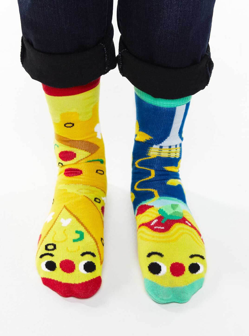 Pizza and Pasta | Crowded Teeth Artist Series | Kids Mismatched Socks