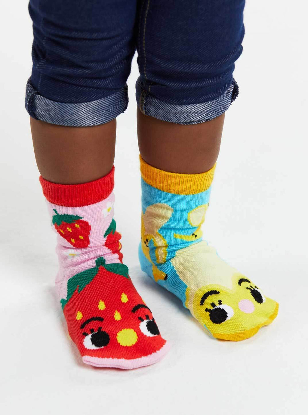 Strawberry and Banana| Crowded Teeth Artist Series | Kids Mismatched Socks
