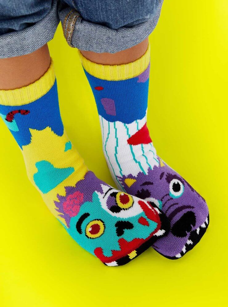 ZOMBIE & WEREWOLF PALS | KIDS MISMATCHED MONSTER SOCKS 4-8 years