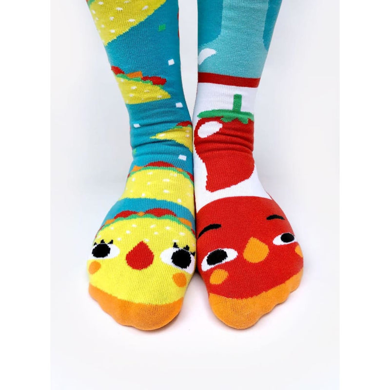 Taco & Hot Sauce | Crowded Teeth Series | Adult Teen Mens Womens Collectible Mismatched Socks
