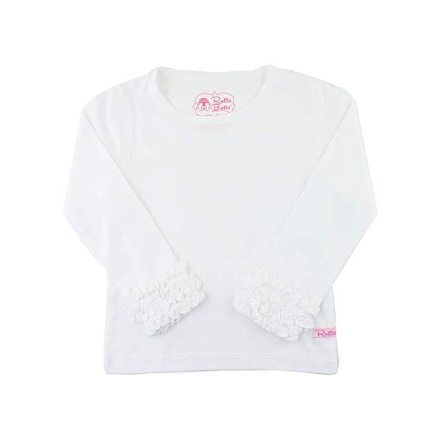 White Ruffled Long Sleeve Layering Tee - Top